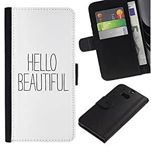 iBinBang / Flip Funda de Cuero Case Cover - Texto Blanco Negro Coqueteo - HTC One M8