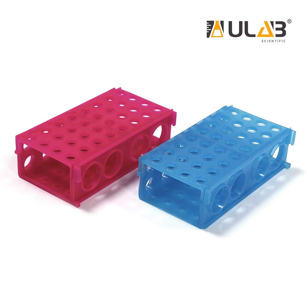 ULAB Plastic Multipurpose 3-Way Centrifuge Tube Rack Set, 2 Colors Red Blue, PP Material, Suitable for Tubes of Dia.≤30mm, UTR1017 by ULAB
