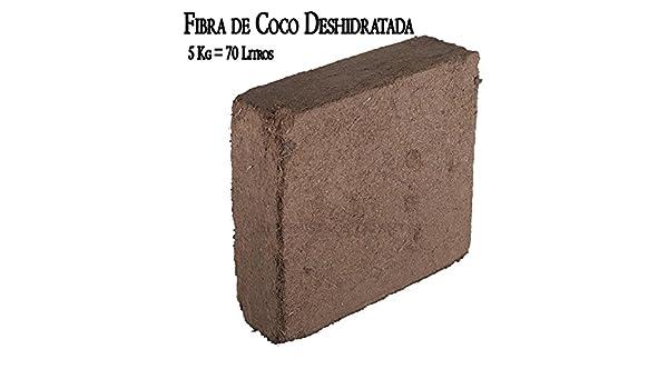 FIBRA DE COCO DESHIDRATADO (5 Kg-70 Litros) Sustrato Bloque Fibra ...