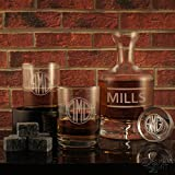 Deep Sand-Carved Lead-Free Crystal Decanter with Custom Personalization