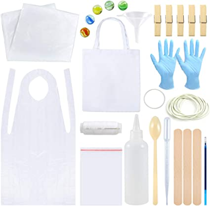 Sntieecr 131 Pieces DIY Tie Dye Kit T-Shirt Fabrics Tie-dye Kits for Kids Adult