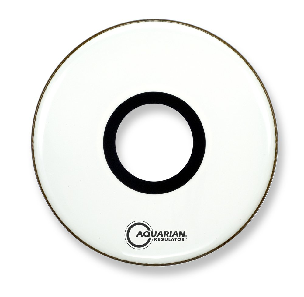 Aquarian Drumheads RPT22WH Regulator White 22-inch Bass Drum Head, gloss white