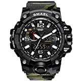 KXAITO Men's Watches Sports Outdoor Waterproof Military Watch Date Multi Function Tactics LED Alarm Stopwatch (Camo_Green)
