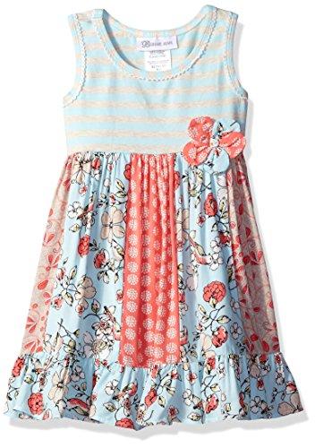 Bonnie Jean Little Girls' Stripe to Multi Printed Challis Panel Dress, Blue, (Challis Printed Skirt)