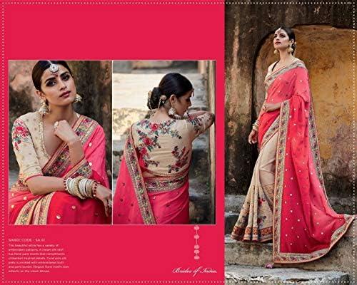 Designer indiano di Bollywood pura seta Fancy Saree matrimonio abbigliamento casual festa festa donna sari camicetta 9680