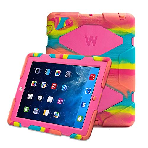 Kidspr Protective Case with Built-in Screen Protector for Apple iPad 2/3/4 - Camouflage Pink