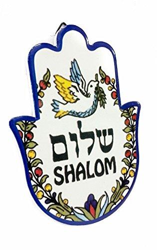 Shalom Ceramic (Ceramic Shalom Hamsa Hand Home Peace Blessing Standing Hanging Plaque Jerusalem)
