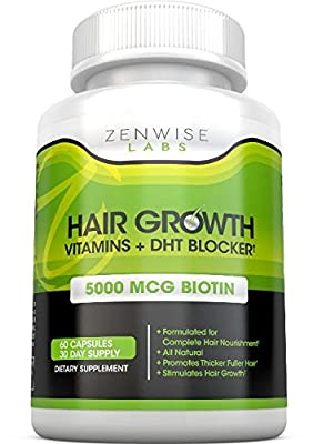 Hair Growth Vitamins with DHT Blocker by Zenwise Labs
