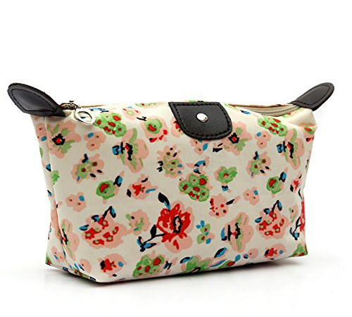 (HOYOFO Women's Travel Cosmetic Bags Small Makeup Clutch Pouch Cosmetic and Toiletries Organizer Bag,Green Flower)