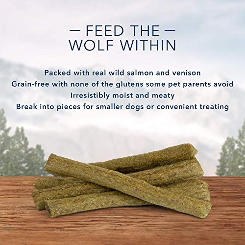 Blue Buffalo Wilderness Denali Stix Grain Free Soft-Moist Dog Treats, with Wild Salmon, Venison, & Halibut 6-oz bag
