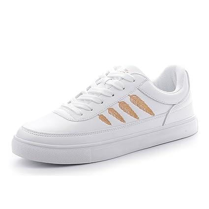 SHI Zapatillas Blancas con Cordones Zapatillas Informales de Mujer Zapatillas Deportivas con Cordones (Color :