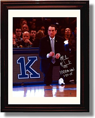 Framed Duke ''Coach K''' 1,000th Win Framed Autograph Photo by Framed Print - College Basketball