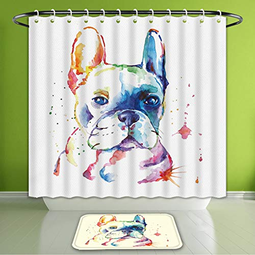 Waterproof Shower Curtain and Bath Rug Set A Simple French Bulldog'S Watercolor On White Background Bath Curtain and Doormat Suit for Bathroom 60