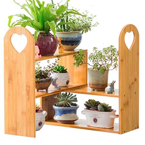 SED Estante Decorativo Interior y al Aire Libre Sala de Estar Planta Ahorro de Espacio Soporte de Maceta Multifuncional Soporte de Flor de bambú Mesa de Centro Porche Cuarto de baño