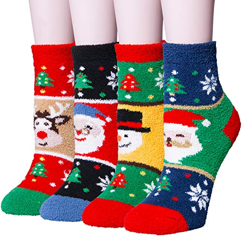 4 Pairs Women's Winter Cozy Fuzzy Christmas Socks, Coral Fleece Warm Slipper Socks]()
