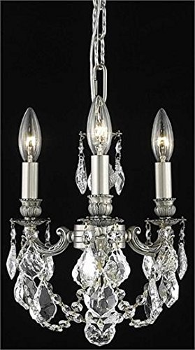 (Reynard Pewter Traditional 3-Light Pendant Swarovski Spectra Crystal in Crystal (Clear)-7738D10PW-SA--10