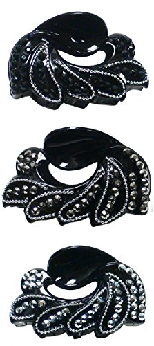 Set of 3 Light Weight Plastic Medium Size Jaw Clip HM86430-1-3 (Clip Claw Jewelry)
