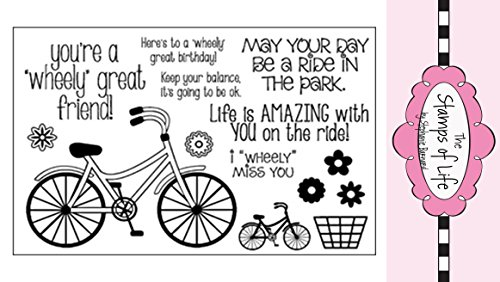 The Stamps of Life Clear Bicycle Ride Stamp For Card Making and Scrapbooking by Stephanie Barnard - Bicycle2Stamp