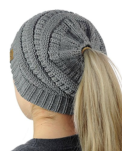 CC Ponytail Stretchy Soft Cable Knit Beanie Cap and Warm Slouchy Skully Hat For Women (Smoke Grey)