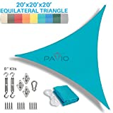 Patio Paradise 20' x 20' x 20' Sun Shade Sail with 8 inch Hardware Kit, Turquoise Green Equilateral Triangle Canopy Durable Shade Fabric Outdoor UV Shelter - 3 Year Warranty - Custom Size Available