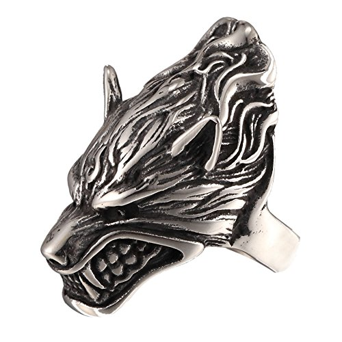 316L Stainless Steel Mens Fierce Black Wolf Skull Head Ring Size 7-13 Punk New Jewelry
