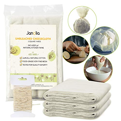 Janolia Cheesecloth, 45 Sq. Ft, Grade 50, with 50 ft. Kitchen Twine, Reusable, Natural Cotton Fabric, Ultra Fine Mesh Muslin for Cooking, Butter, Dry Food Storage, Food Straining -