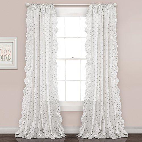 Cheap Lush Decor Lush Décor Ruffle Polka Window Curtain Panel Pair, 84″ x 40″, Gray