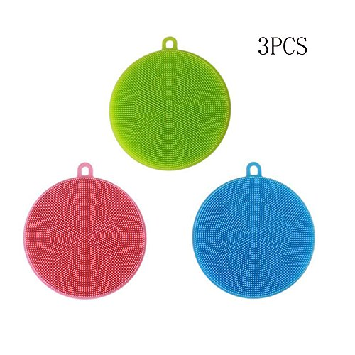3 Pack Antibacterial Silicone Dish Scrubber Dishwashing Clea