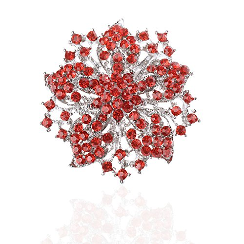 (TAGOO Womens Vintage Multicolor Alloy Bridal Flower Brooch Corsage in Crystal for Wedding Girls (Red)