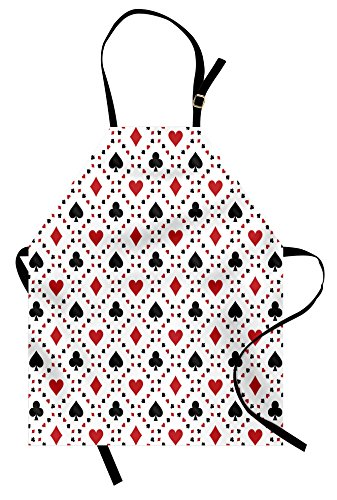 Ambesonne Casino Apron, Poker Cards Advertising Holidays Getaways Tourist Destinations Pleasure Art Print, Unisex Kitchen Bib Apron with Adjustable Neck for Cooking Baking Gardening, Red Black