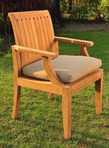 WholesaleTeak Grade-A Teak Wood Luxurious Arm/Captain Dining Chair [Model: Lagos] #WHDCARLG ()