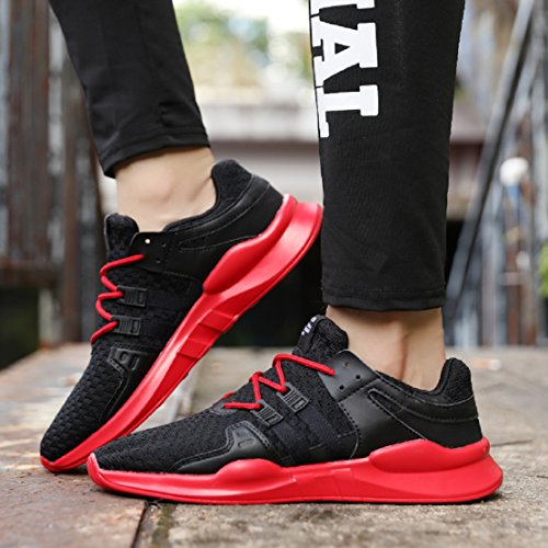 36 Black Mesh red Running Trainers 46 NEOKER Casual Shoes Sneakers Sports Men's Black Gym Women's qfxwUPv