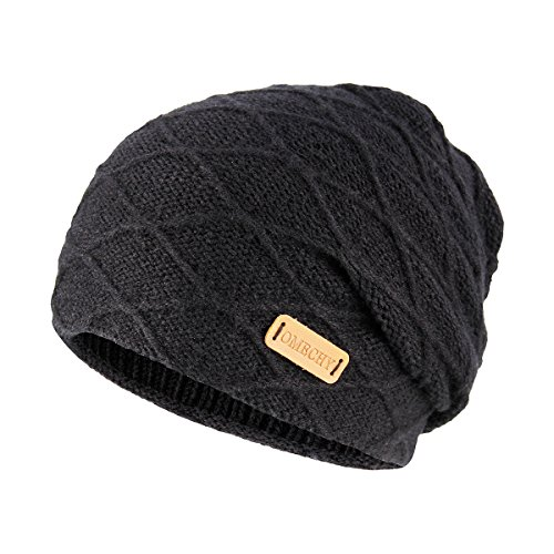 OMECHY Mens Winter Warm Knitting Hats Thick Wool Baggy Slouchy Beanie Hat Skull Hat Ski Cap 4 Colors