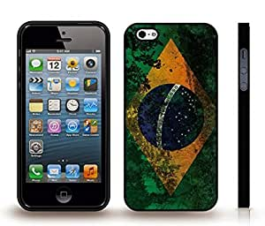 iStar Cases? iPhone 5/5S Case with Brazil Flag Antique Grunge Look Design , Snap-on Cover, Hard Carrying Case (Black)