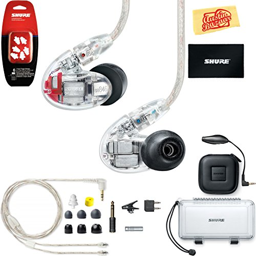 Price comparison product image Shure SE846 Sound Isolating Earphones - Clear Bundle with Triple Flange Sleeves,  Sleeve Fit Kit,  Carrying Case,  and Austin Bazaar Polishing Cloth