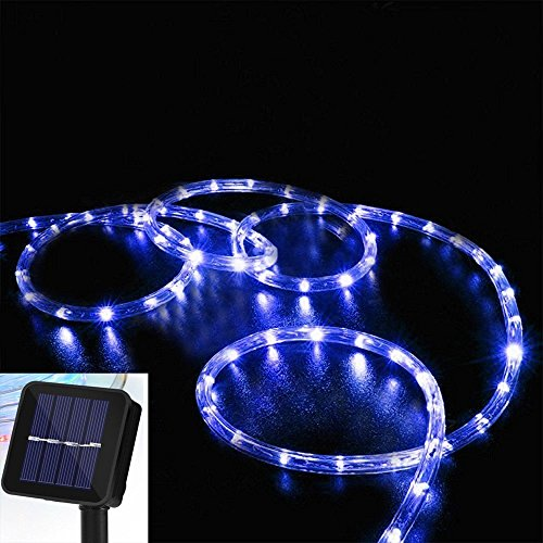 Solar Rope Lights, DINOWIN 39ft/12M 100LED Waterproof Copper Tube Wire String Lights for Garden,Yard, Path, Fence, Stairs, Backyard, Patio Decorative (Blue)