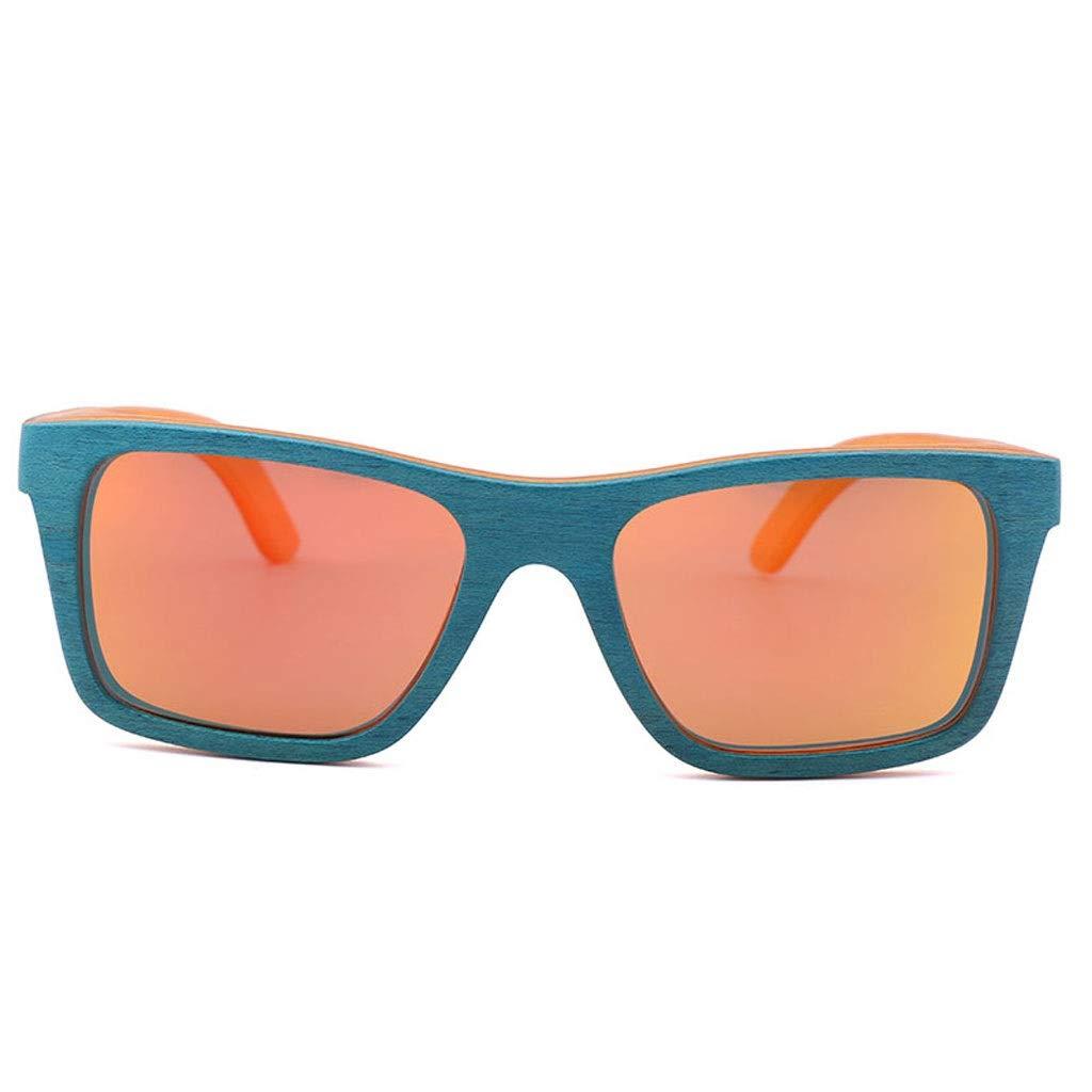 orange Sunglasses for Women Men Polarized uv Predection Glasses case Travel car Wooden Frame Simple Personality Square Handmade Multicolor