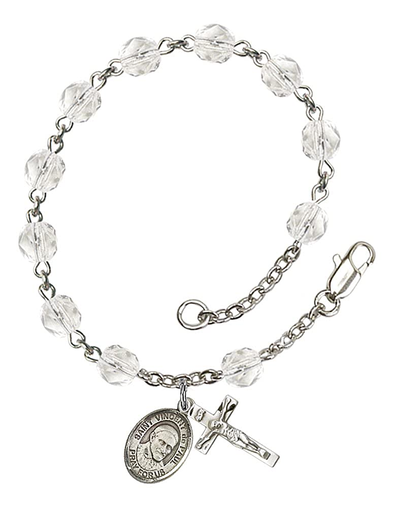 Vincent de Paul Medal The Crucifix Measures 5//8 x 1//4 The Charm Features a St Silver Plate Rosary Bracelet Features 6mm Crystal Fire Polished Beads Patron Saint Charities//Caregivers