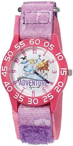 Disney Girl's 'Cinderella' Quartz Plastic and Nylon Automatic Watch, Color:Purple (Model: W002954)
