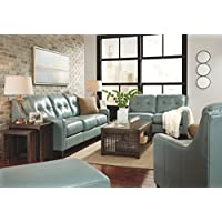 Ashley Furniture Signature Design - OKean Upholstered Leather Sofa - Contemporary - Sky