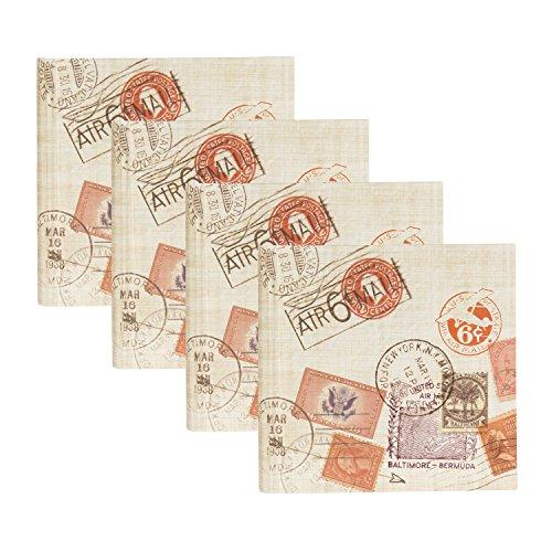 DesignOvation Passport Stamps Travel Photo Album, Holds 200 4x6 Photos, Set of 4 by DesignOvation