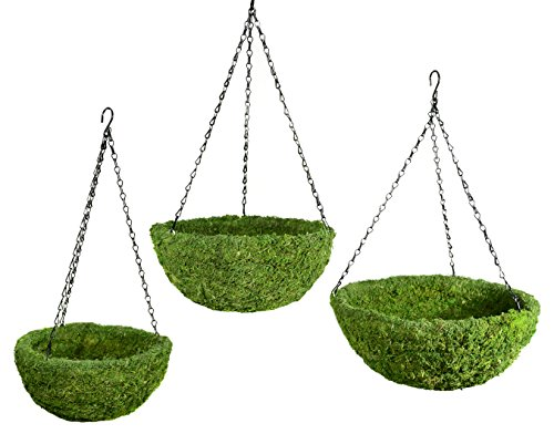 Spanish Hanging Basket - SuperMoss (29320) MossWeave Hanging Basket - Round, Fresh Green, Set of 3 (S/M/L)
