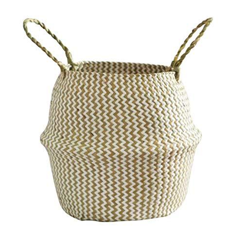 BERTERI Foldable Handmade Storage Basket Folding Wicker Rattan Seagrass Belly Straw Garden Flower Pot Planter Laundry Basket (Tier Wicker Shelves Folding 4)