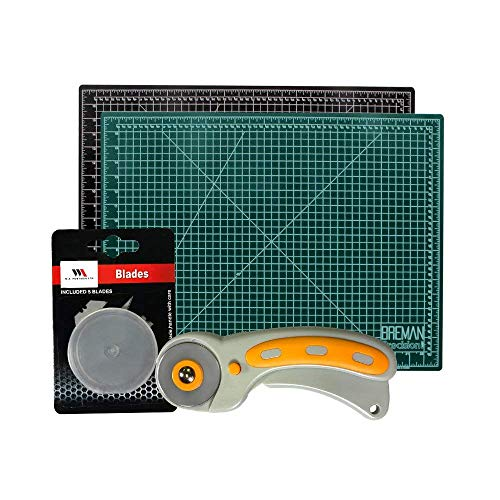 (Rotary Cutter & Self Healing Mat Set – Professional 18x24 Double Sided Cutting Mat with Rotary Plus 5 Replacement Blades Making The Ultimate Arts & Crafts Kit for Sewing Quilting & Much More)