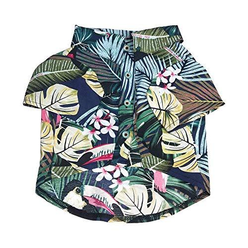 (LO HOME Hawaiian Pet Dog Polo T Shirts Summer Puppy Clothes Hawaiian Breeze Seaside Resort Style French Bulldog Pug Beachwear (L, Blue))