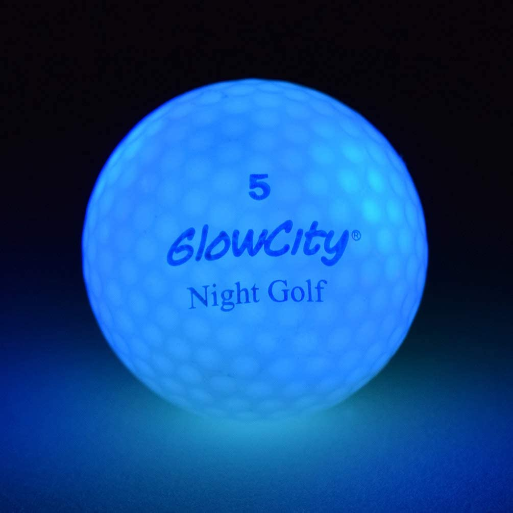 GlowCity Glow-in-The-Dark Golf Balls – 3-Pack of Official Size & Weight LED Neon Balls – Impact Activated Smart Sensor Stays Lit for 8-Minutes – Batteries Included