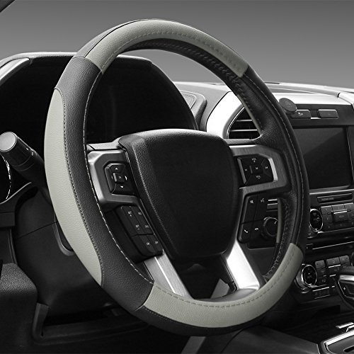 SEG Direct Black and Gray Microfiber Leather Steering Wheel Cover for F-150 Tundra Range Rover 15.5