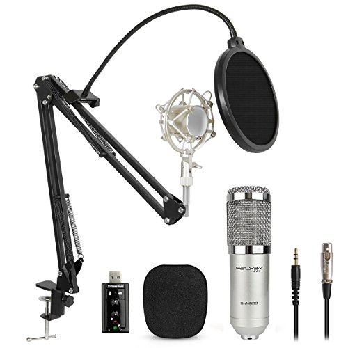Condenser Microphone Kit, BM-800 Mic Set with Adjustable Mic Suspension Scissor Arm, Metal Shock Mount ,Sound Card and Double-layer Pop Filter for Studio Recording & Brocasting (Kits Sound Card)