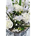 Artificial-Ivory-Foam-Rose-Freesia-Floral-Vase-Table-Display