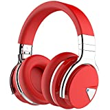 COWIN E7 Wireless Bluetooth Headphones with Mic Hi-Fi Deep Bass Wireless Headphones Over Ear, Comfortable Protein Earpads, 30 Hours Playtime for Travel Work TV Computer Phone - Red